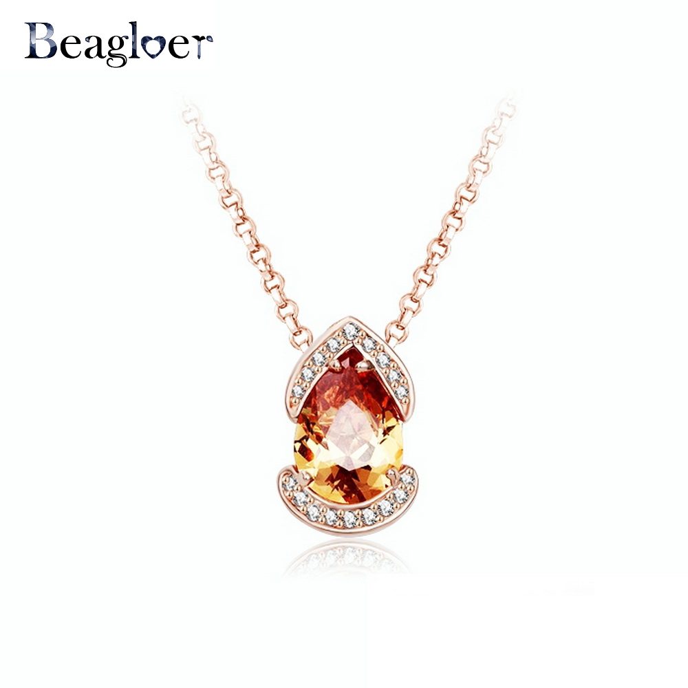 Beagloer Beautiful Big Pendant Necklace Rose Gold Color Austrian Crystals Women Necklace Party Jewelry NL0035-A