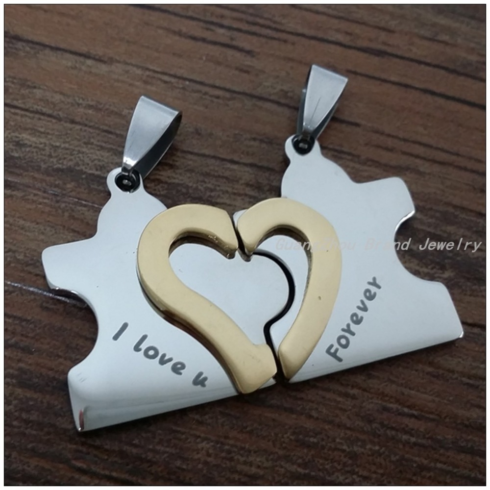New Romantic Lover&39;s Jewelry Stainless Steel Silver/Gold Heart Pendants Necklaces For Women/Men,One Bead Chain For Free