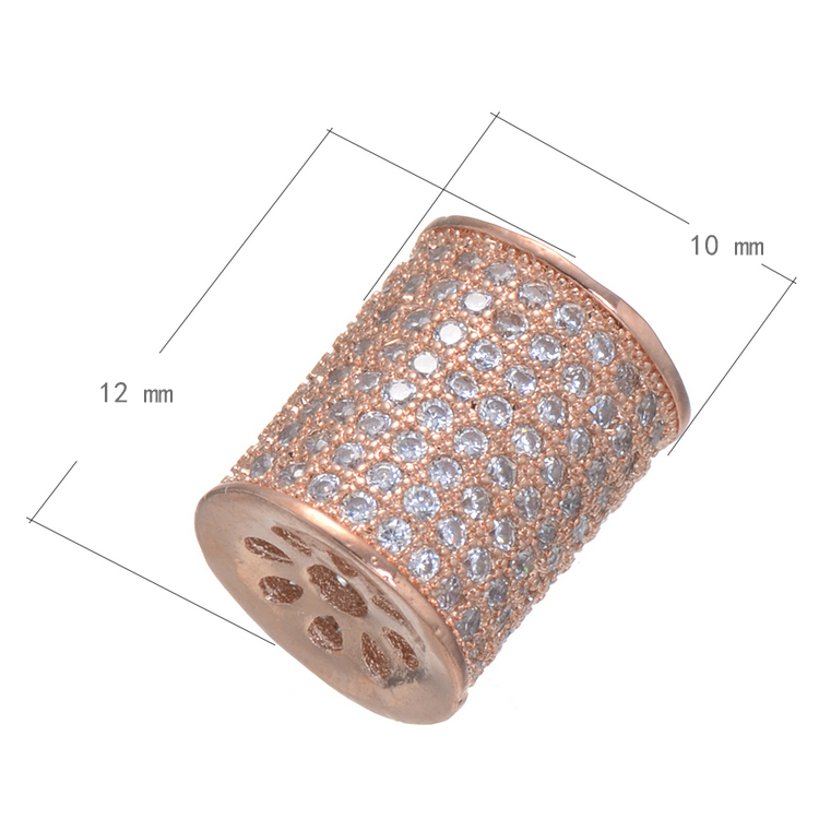 Spring Boutique Rose Gold And Copper Zircon Beads Charm Of The Influx Of Women Jewelry Production DIY Accessories