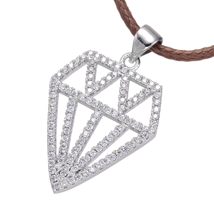 Spring Hot Selling Jewelry Charm Hollow Geometric Micro Pave White Gold Zircon Pendant Necklace For Fashion Boys & Girls